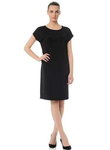 Asymmetry Kısa Kollu Elbise Siyah